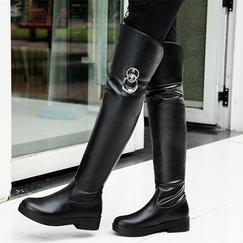 Flat Heel Leather Riding Boots 2015 Brand New Fall Fashion Womens Over The Knee Tall Boots