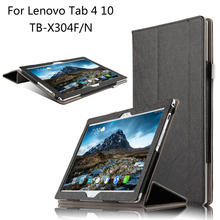 Fashion Flip Folding stand Case Cover For Lenovo TAB 4 10 TB-X304F / X304N 10.1 inch Tablet cases + Stylus + Film