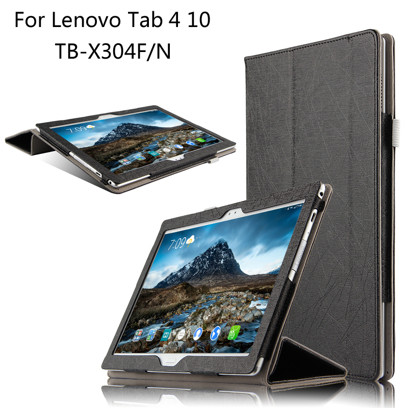 Fashion Flip Folding stand Case Cover For Lenovo TAB 4 10 TB-X304F / X304N 10.1 inch Tablet cases + Stylus + Film smart home uk standard crystal glass panel wireless remote control 1 gang 1 way wall touch switch screen light switch ac 220v