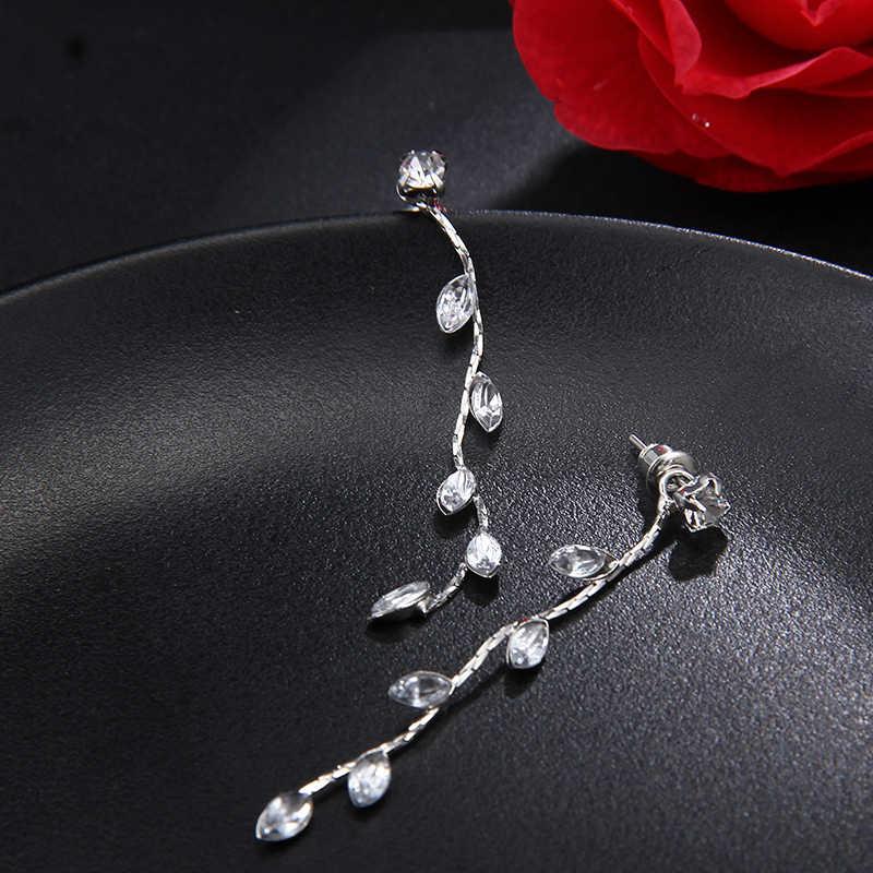 RscvonM Серебро Цвет Оставить Кристалл Свадебные Длинные серьги в форме цветов Люстра для женщин невесты Рождество