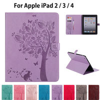 For Apple Ipad 2 3 4 Cases High Quality PU Leather Flip Stand Cat Tree Pattern
