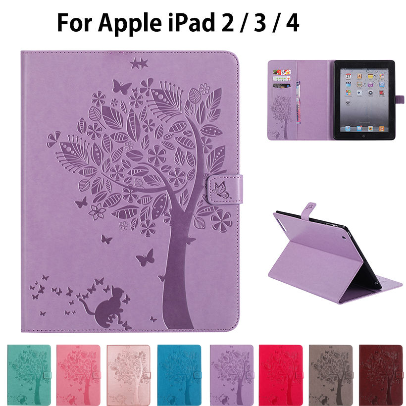 For Apple Ipad 2 3 4 Cases High quality PU Leather Flip Stand Cat Tree Pattern Case For iPad2 iPad3 iPad4 Cover Funda Skin Shell