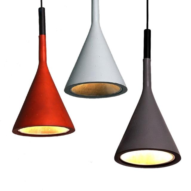 Vintage LED Lampes Suspendues Lampes Résine Imitation Ciment