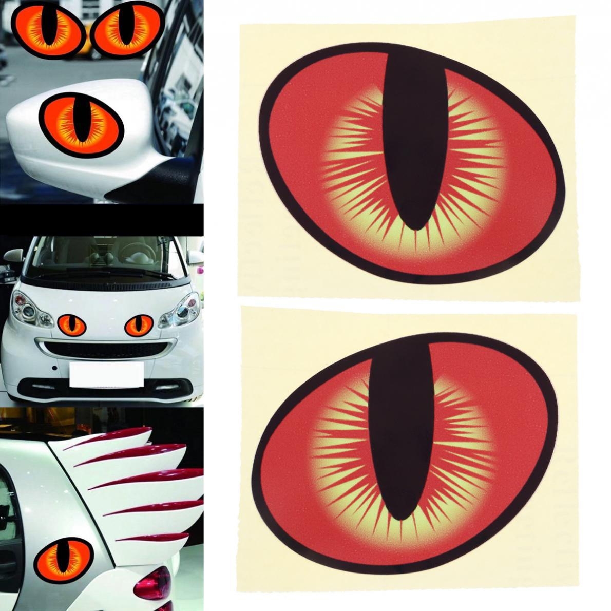 2pcs 10 x 8CM 3D Eye Pattern Reflective Material Strong Adhesion Creative Funny Stereoscopic Car Sticker Accessories