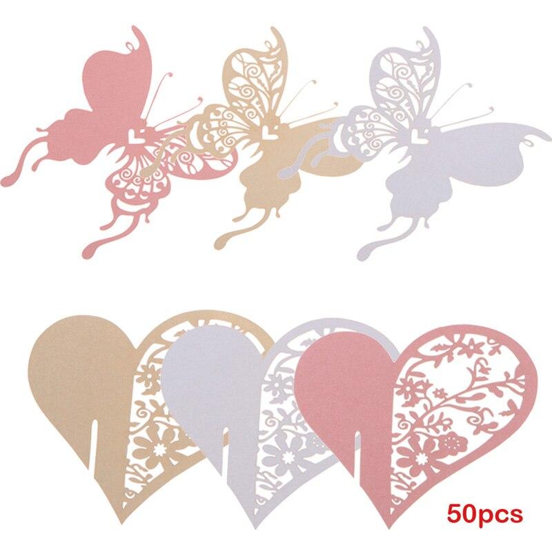 unids corazn y mariposa tarjetas de papel creativo copa de vino tarjeta del lugar del