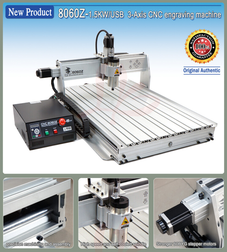 Newest USB mini cnc router 8060Z-USB1500W mini cnc milling machine cnc 5axis a aixs rotary axis t chuck type for cnc router cnc milling machine best quality