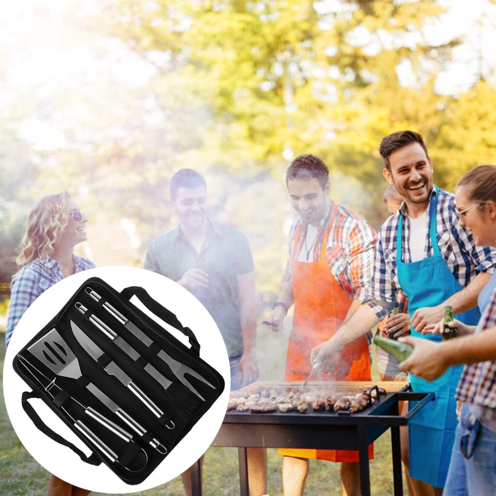 OOTDTY 5pcs BBQ Barbecue Tools Set Stainless Steel Brush Knife Fork Shovel Camping Kit Multi-function Design