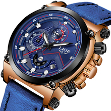 2019 LIGE Mens Watches Business Top Luxury Brand Quartz Watch Men Leather Blue Waterproof Sport Chronograph Relogio Masculino