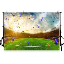 Vinyl Photography Background Football Field Soccer Celebration Party Time Champion Children Backgrounds for Photo Studio