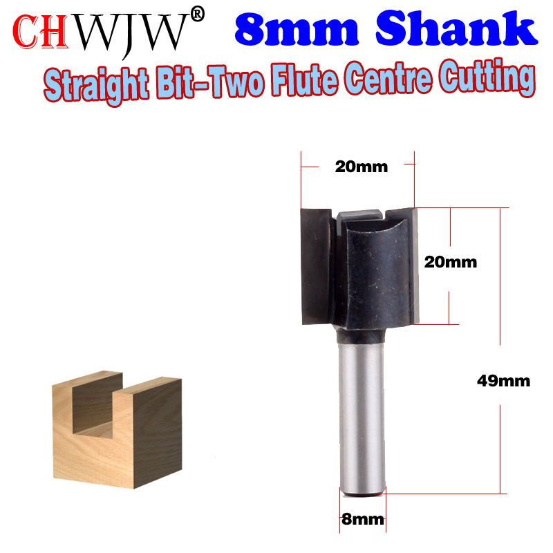 1pc 8mm Shank High Quality Straight Bit-Two Flute Centre Cutting Wood Cutting Tool woodworking router bits - Chwjw 1pc 1 4 shank high quality roman ogee edging and molding router bit wood cutting tool woodworking router bits chwjw 13180q