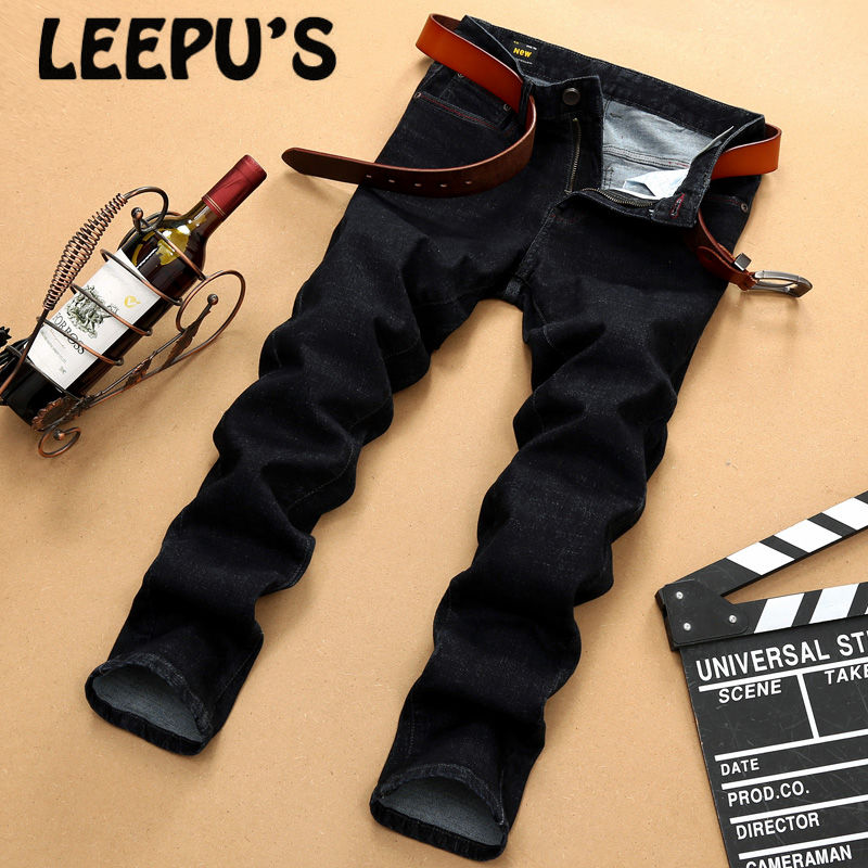 ФОТО Leepu's Brand 2017 summer casual Men's jeans high quality Pure Middle-waisted Midweight Loose jeans straight full length 8687#