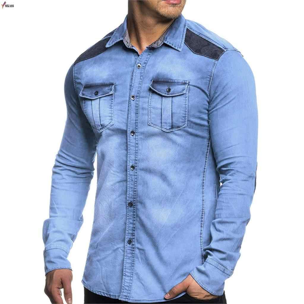 100% Bawełna Gradient Blue Jeans koszula mężczyzna mody