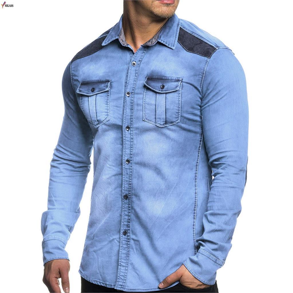 Spring and Autumn New Fashion Men's Denim Shirt, Leisure Stitching Denim Long Sleeve Shirt. Maximum size 3XL