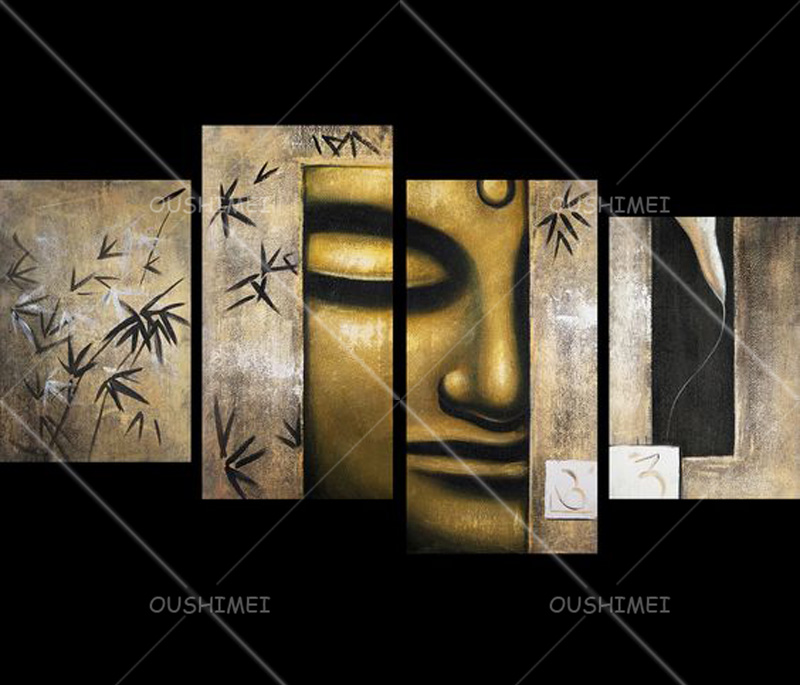 Skills Artist Handmade High Quality Abstract Buddha Oil Painting For Wall Decoration Gold Buddha 4 Penal Portrait Oil Paintings