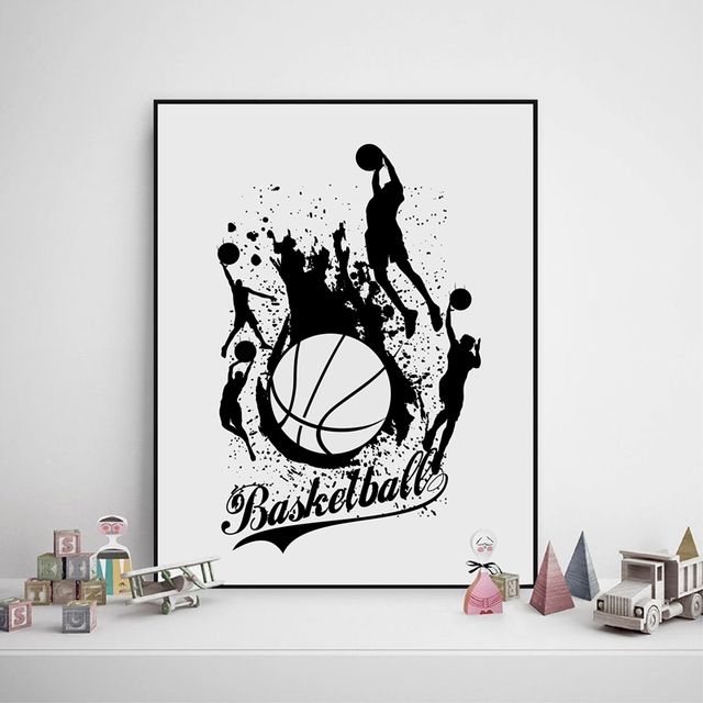 Captivating Basketball Canvas Painting Prints Home Decoration , Watercolor Basketball Sports  Wall Pictures Boyu0027s Room Wall Art