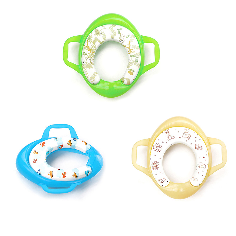 MrY Plastic Soft Toilet Seat Baby Potty Soft Toilet Training Seat Children Trainer Assistant Potty Toilet Pad With Handle