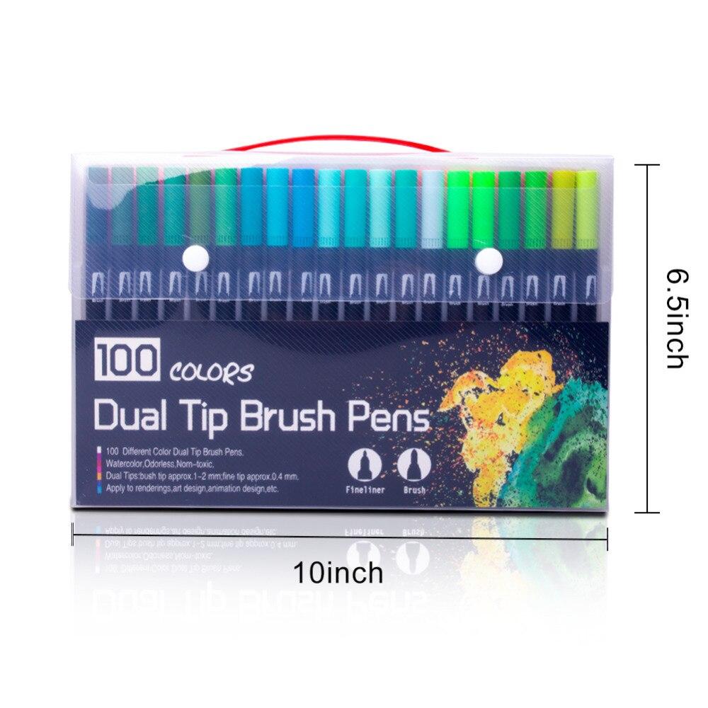 100 couleurs aquarelle pinceau stylo 2mm pinceau pointe et 0.4mm pour pointe Fine double pointe Art marqueurs pour adulte coloriage dessin peinture - 6