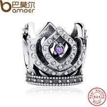 BAMOER 925 Sterling Silver European Charms Fit Original Bracelet Purple Crown Women Beads Jewelry Making Berloque PAS222