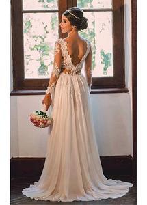 Image 3 - E JUE SHUNG Ivory Lace Appliques Pearls Beach Wedding Dresses Long Sleeves Backless Boho Bridal Dresses robe de mariage