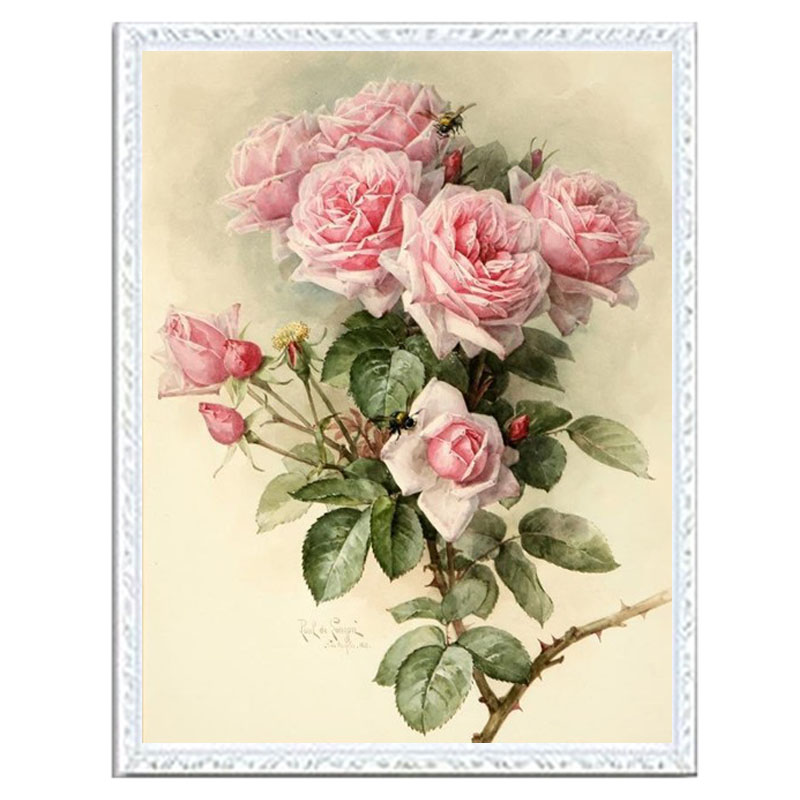 Needlework DIY DMC 14CT unprinted Cross stitch kits For Embroidery Light red flowers home decoration crafts