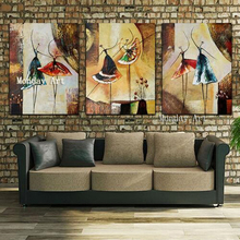 High quality 3 Panel Handpainted Ballet Dancers Paintings Canvas Art ballet Picture Abstract figure Oil Painting Home Decoration