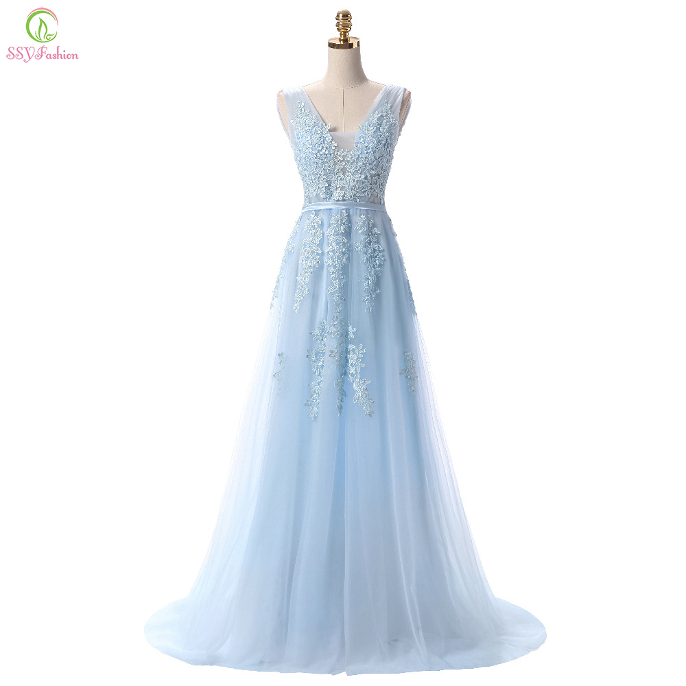 8403383696d SSYFashion Hot Sell Sweet Light Blue Lace V-neck Lacing Long Evening Dress  The Bride Party Sexy Backless Prom Dresses Custom