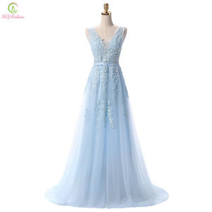SSYFashion Blue Long Evening Dress Party Prom Dresses