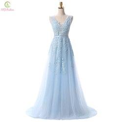 SSYFashion Venda Quente Doce Laço Luz Azul Com Decote Em V Laço Longo Festa À Noite Vestir O Vestido de Noiva Sexy Backless Prom Dresses Personalizado