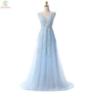 Image 1 - SSYFashion gorący bubel słodka lekka niebieska koronka dekolt sznurowanie długa suknia panna młoda Party Sexy suknie bez pleców na bal maturalny zwyczaj