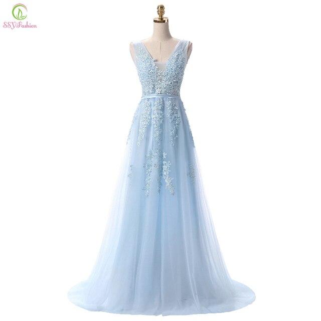 SSYFashion gorący bubel słodka lekka niebieska koronka dekolt sznurowanie długa suknia panna młoda Party Sexy suknie bez pleców na bal maturalny zwyczaj