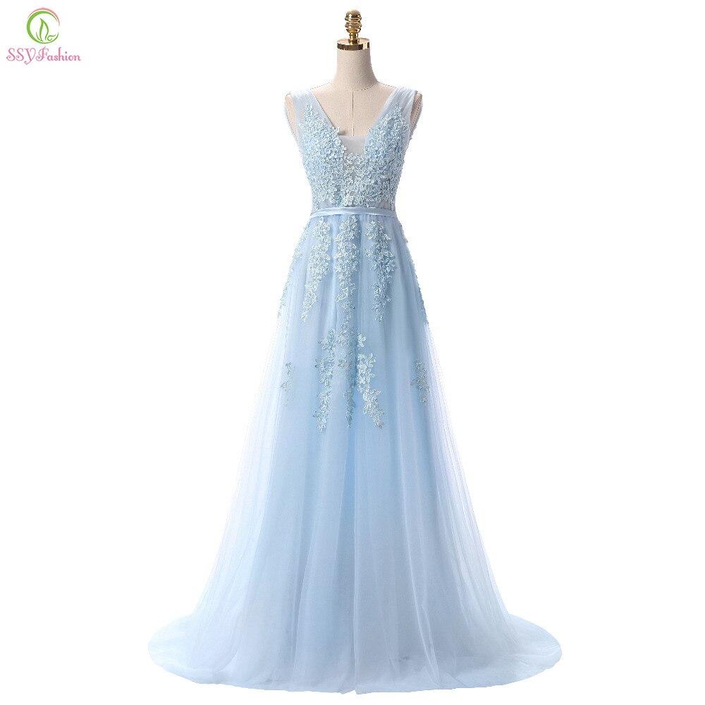 Ssyfashion Лидер продаж Сладкий голубой Кружево v-образным вырезом шнуровкой длинное вечернее платье невесты Вечерние пикантные спинки Выпускные платья Пользовательские
