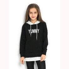 New Girls Hoodies Black White Kids Sweatshirt Block 2018 Jackets Autumn Winter  for Teen 6 8 10 12 14 years