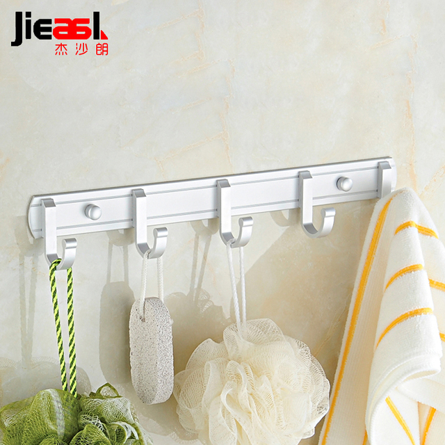 Wall Hook Aluminum Hanging Coat Hooks Modern Robe Bathroom Hanger Towel  Hooks Metal Wall Clothes Coa