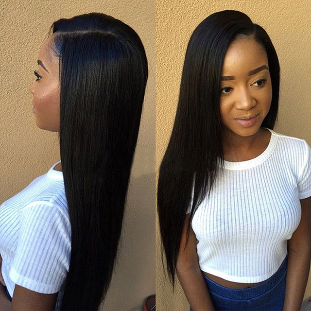 Best 100% Malaysian Virgin Human Hair Full Lace Front Wigs Silky Straight  With Baby Hair For Black Women aa639bd7e580