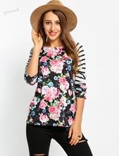 Fashion Women Autumn and Winter Long Sleeve T-shirt Tops O-Neck Raglan Floral Print Striped Patchwork Pullover Tops