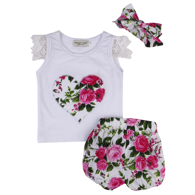 7dce8786dc4 3PCS Baby Kids Girls Summer Outfits Toddler Floral Lace Sleeve Heart Top  Shirt+Flower Pants