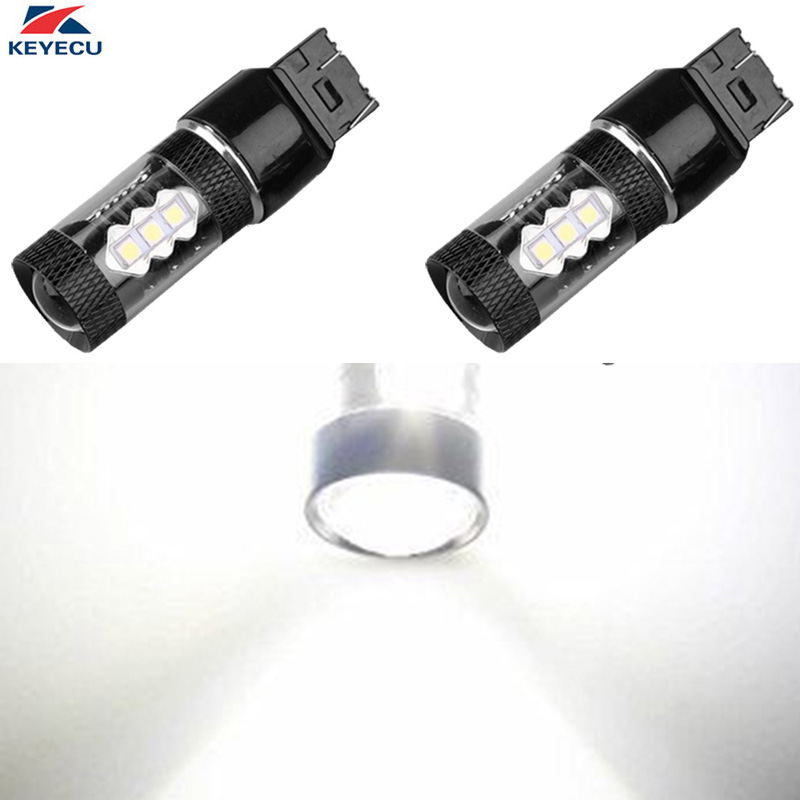 KEYECU 2 Pieces 6000K White High Power 16SMD 7440 7443 T20 3030 LED Bulbs For Car Backup Reverse Parking Stop Lights