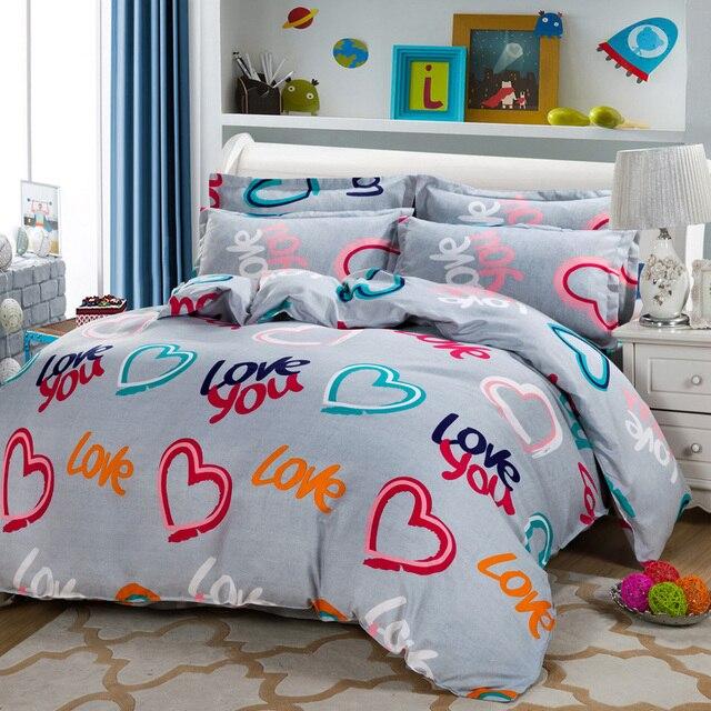 Wholesale Jacquard/love You 4pcs Bedding Sets Cotton Bed Sheet +duvet Cover  + Pillow