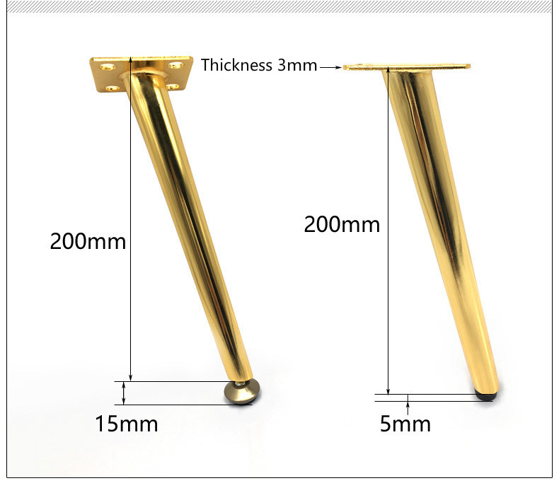 Metal Furniture Legs Golden Iron Oblique Support 20.5/ 21.5cm Cabinet Wood Table Legs Furniture Accessories 1/ 2/ 4/ 6/ 8pcs