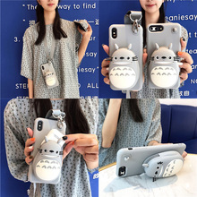 3d cat wallet silicone case for iphone 7 8 6 6s plus X XR XS MAX cover cute cartoon card holder soft shoulder strap phone b