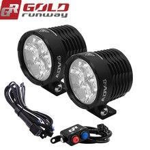 GOLDRUNWAY 12V Led Motorcycle Headlight Bulbs Led 3800LMW Auxiliary Lamp Driving Car Fog Lamp Spot or flood Moto Ligh