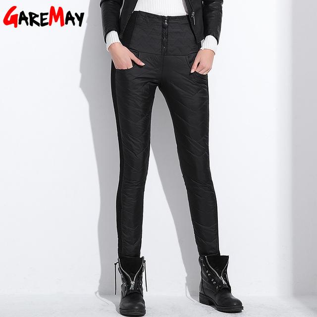 Invierno de las mujeres Pantalón de Cintura Alta Pato Abajo Caliente Para Damas Womens Formal de trabajo Elegante Delgada Ocasional Pantalones Largos Negro Azul XXXL