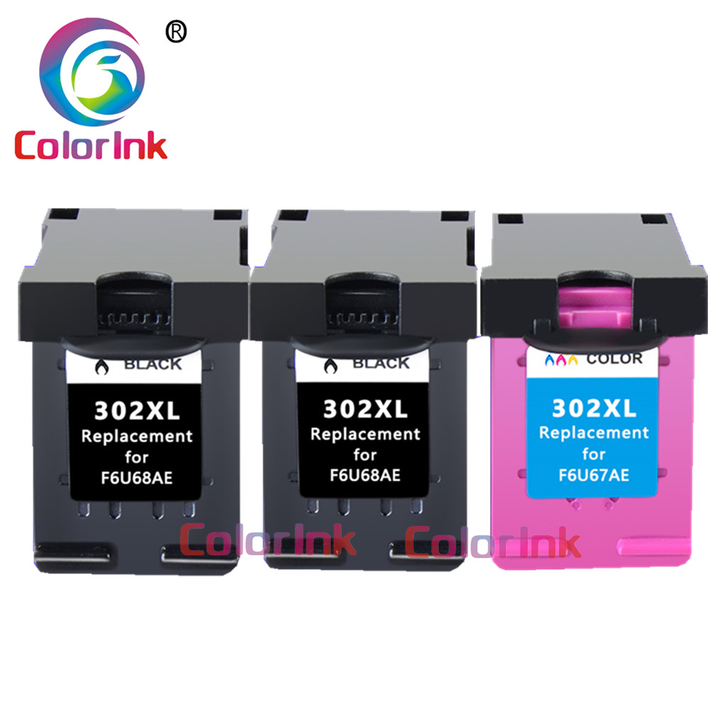 ColoInk 302XL ink cartridge replacement for hp302 <font><b>HP</b></font> 302XL For <font><b>HP</b></font> Deskjet 2130 2135 1110 <font><b>3630</b></font> 3632 Officejet 3830 3834 4650 image