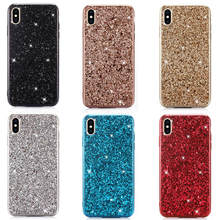 Phone Case For iphone X XR XS Max Silicon Bling Glitter Crystal Sequins Soft TPU Cover Fundas 7 8 Plus 7plus