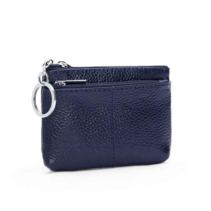 Monedero CICICUFF de cuero genuino para mujer, cartera para cambio pequeño, carteras con llavero para niños, Mini bolsa con cremallera