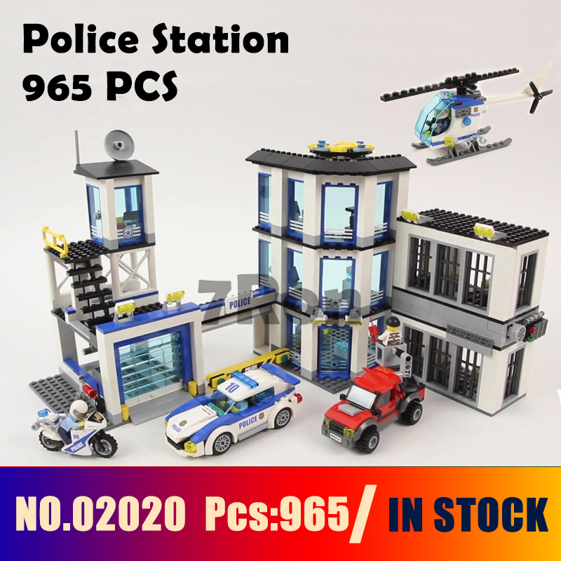 Compatible with lego City Series 60141 965Pcs Police Station Models building kit 02020 Educational DIY Bricks toys & hobbies dhl lepin 02020 965pcs city series the new police station set model building set blocks bricks children toy gift clone 60141