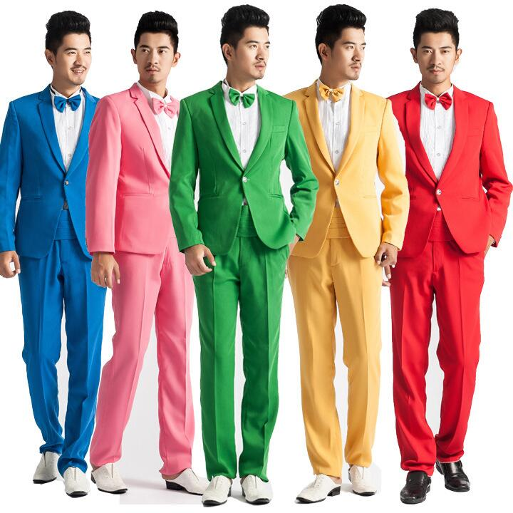 2017 Latest Coat Pant Designs Colorful Suits Men Costume