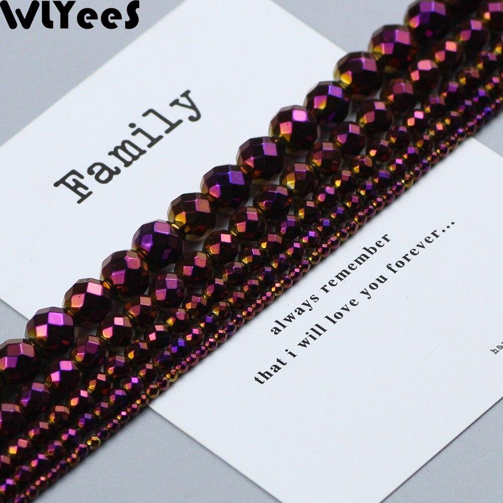 WLYeeS покрытые фиолетовыми натуральными гематитовыми бусинами, граненые круглые свободные бусины 2, 4, 6, 8, 10 мм, шар для изготовления ювелирных...