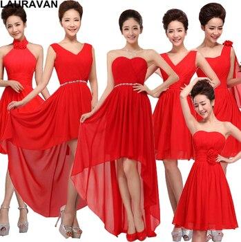 c9303baaf6 2018 muchachas de la gasa color rojo lace up volver elegante dama de honor  formal corto criada de Las Novias Vestidos vestidos de fiesta para bodas  envío ...