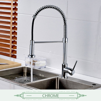 FLG Spring Style Kitchen Faucet Brushed Nickel Sink Faucet Pull Out Torneira All Around Swivel 2-Function Water Outlet Mixer Tap 12